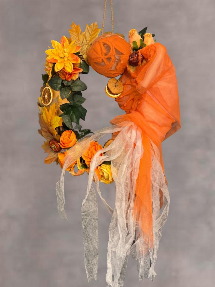 Halloween Pumpkin Autumn Door Wreath